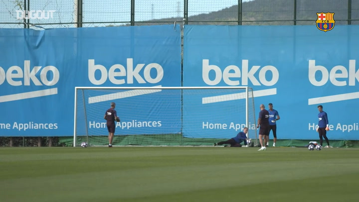 Barça's first-team training session for the Napoli game