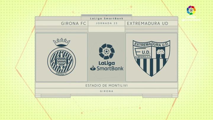 LaLiga SmartBank (J23): Resumen y goles del Girona 3-1 Extremadura