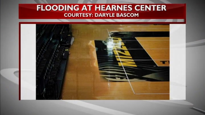 Water main break causes at least $100,000 of damage to Hearnes Center court
