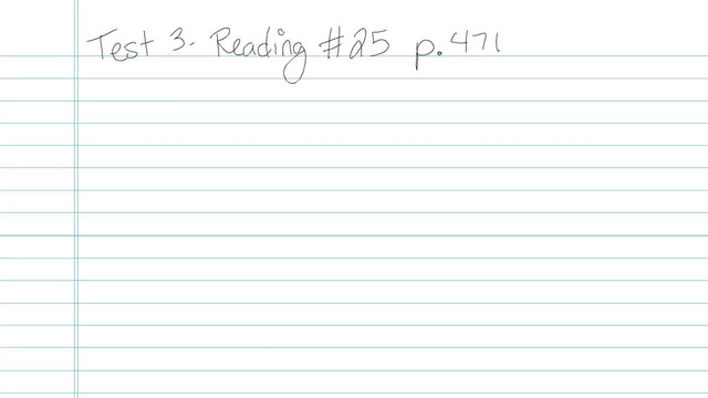 Test 3 - Reading - Question 25