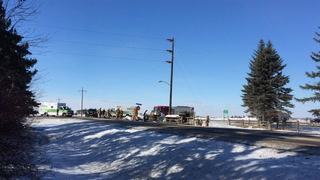 Truck accident in South Grand Forks