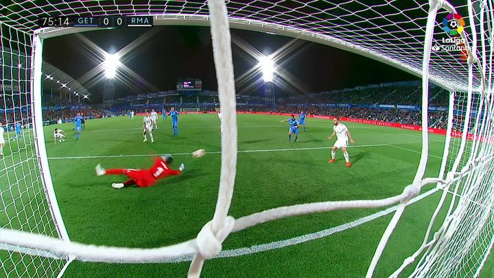 LaLiga: Getafe - Real Madrid. Doble parada de Keylor Navas en el minuto 73