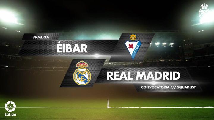 Los 19 convocados del Real Madrid para el partido ante el Eibar