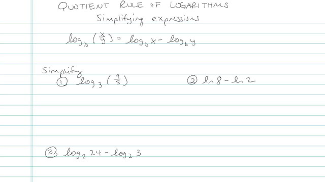 Quotient Rule of Logarithms - Problem 4