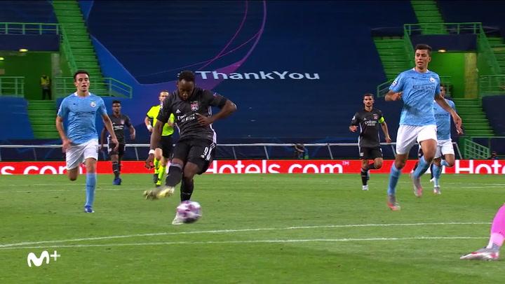 Champions League Manchester City-Lyon. Gol de Moussa Dembélé (1-2)