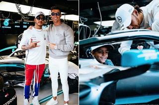 Hijo de Cristiano Ronaldo aluciNa en el Mercedes de Lewis Hamilton