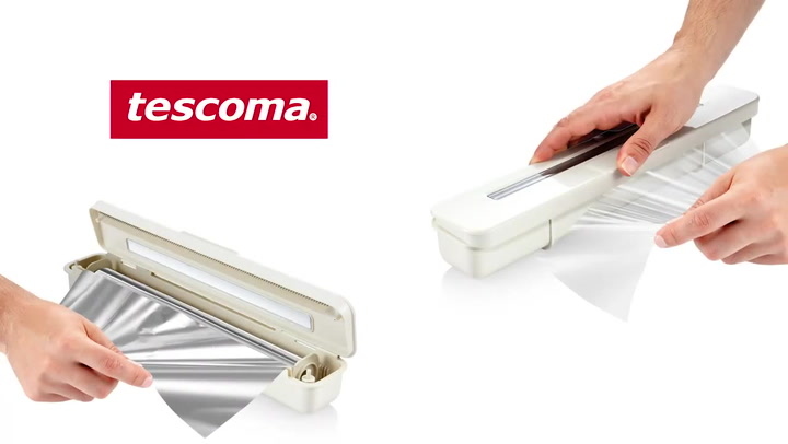 Preview image of Tescoma FlexiSpace Cling Wrap or Foil Holder & Cut video