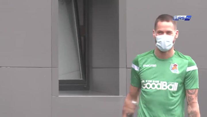 Remiro está de vuelta en los entrenamientos de la Real Sociedad