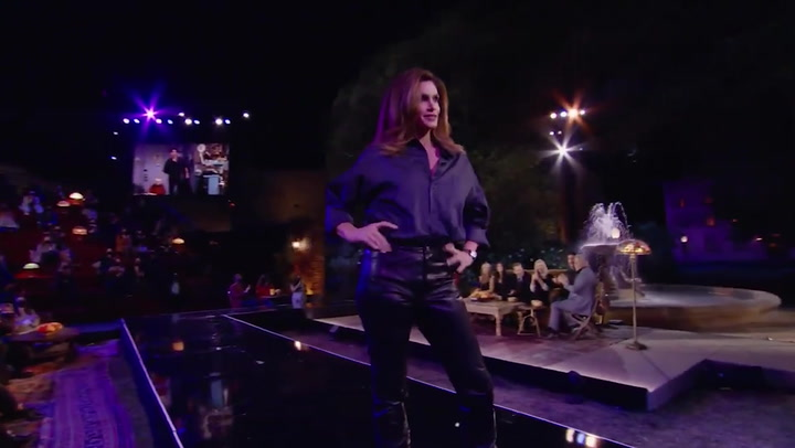 Cindy Crawford models Ross's leather pants from Friends