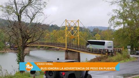 Video viral: Bus ignora la advertencia de peso en un puente