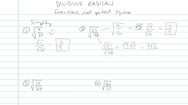 Dividing Radicals and Rationalizing the Denominator - Problem 8