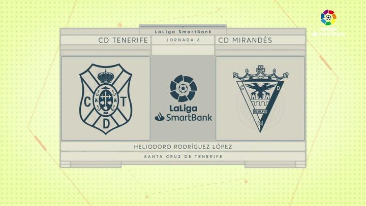 LaLiga SmartBank (J6): Resumen Tenerife 1-2  Mirandés