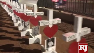 Crosses honoring Oct. 1 shooting victims return to Las Vegas Strip