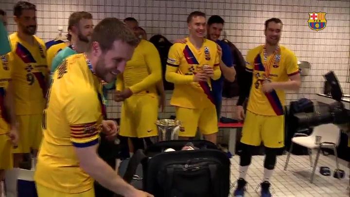 La reacción de los jugadores tras ganar la Copa del Rey