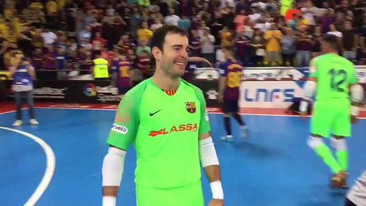 El Barça celebra su victoria ante ElPozo