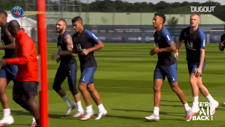 Paris Saint-Germain players complete defensive training session
