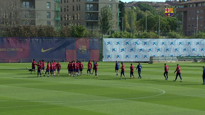 Último entrenamiento del Barça antes de enfrentarse al Alavés