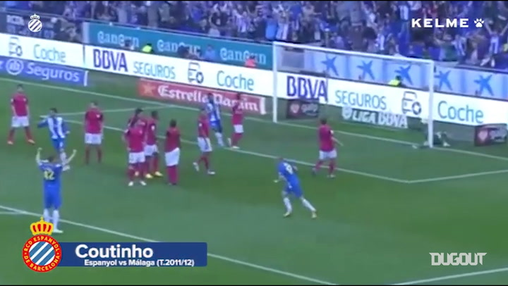 Philippe Coutinho's under the wall free-kick goal vs Málaga