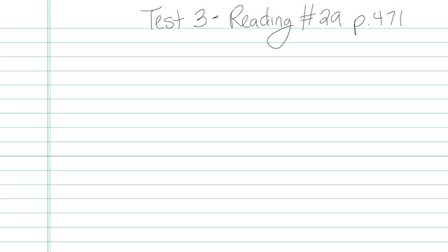 Test 3 - Reading - Question 29