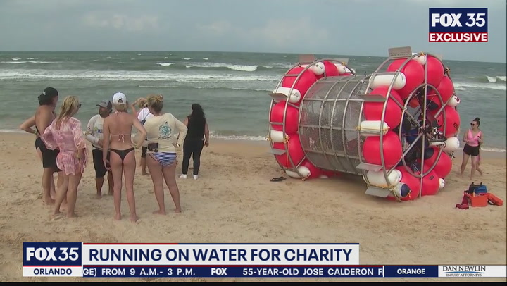 Man running on water inside floating 'bubble' washes up on Florida beach