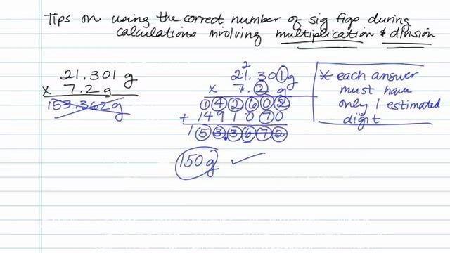 Solving Sig Figs Involving Multiplication and Division