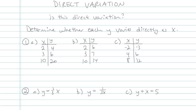 Direct Variation - Problem 5