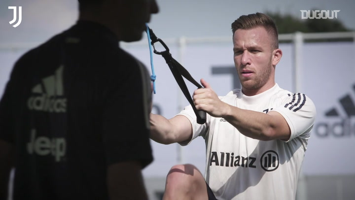 Arthur puts in the work during Juventus pre-season training