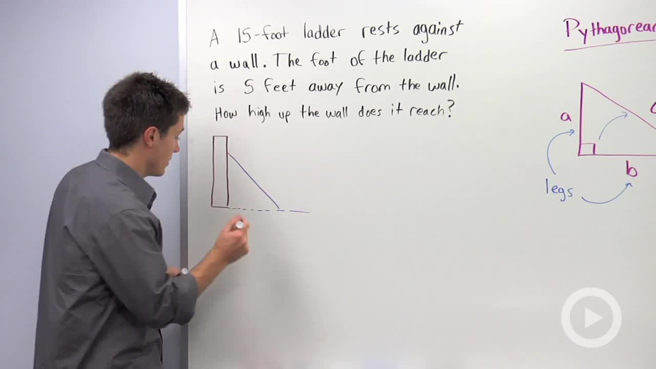 using the pythagorean theorem to a missing leg math videos problem 2