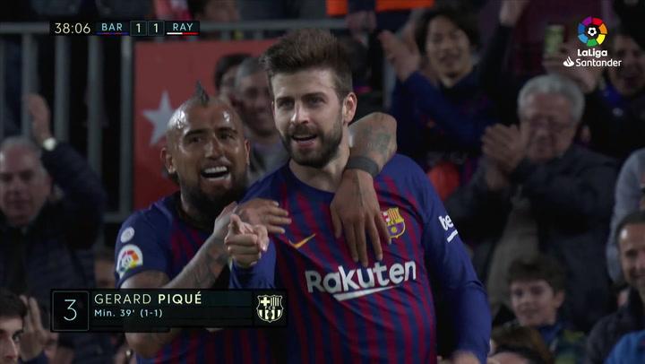 LaLiga: Barça-Rayo. Gol Piqué (1-1)
