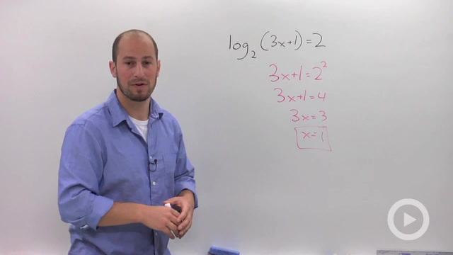 Solving Simple Logarithmic Equations - Problem 1