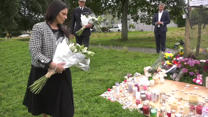 Home Secretary Priti Patel lays flowers for Plymouth victims