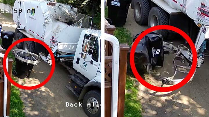 Nabokrangel resulterte i smadret avfallscontainer
