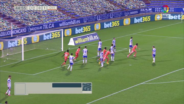 Gol de Sangalli (0-2) en el Zaragoza 2-4 Oviedo