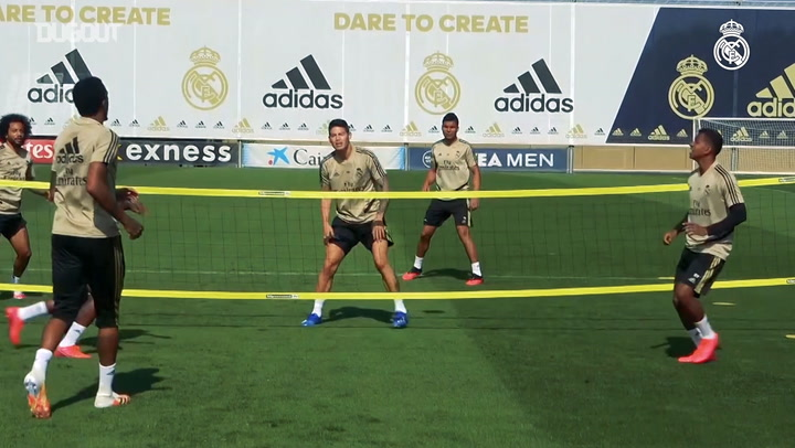 Real Madrid squad show off head tennis skills