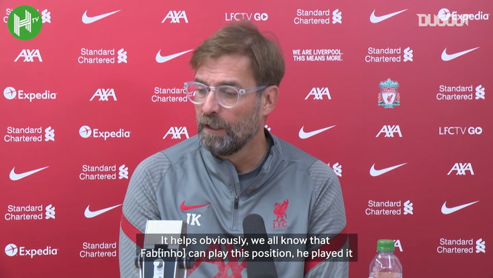 Klopp discusses Liverpool's defence and Fabinho's ability to play centre-back