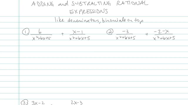 Adding and Subtracting Rational Expressions - Problem 5