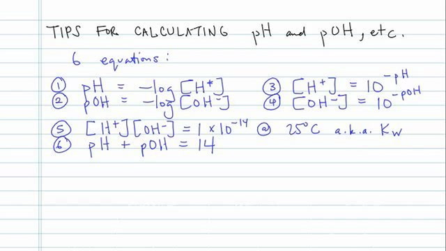 Tips for Calculating pH and pOH and More
