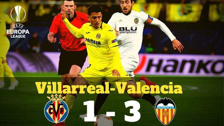 Europa League: Resumen del Villarreal-Valencia (1-3)