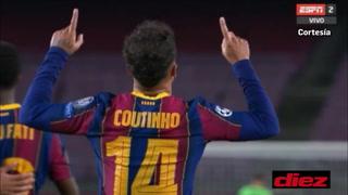 Coutinho marca el tercero tras un taconazo de Ansu Fati