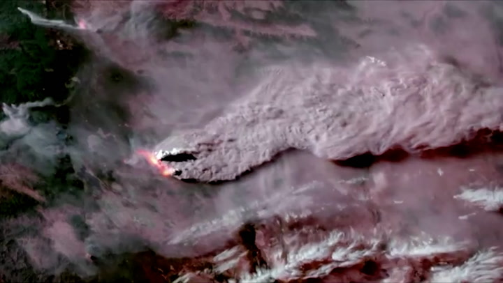 Oregon wildfires seen from space in dramatic satellite footage