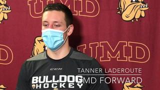 Minnesota Duluth's Scott Sandelin, Tanner Laderoute and Blake Biondi break down the Bulldogs 2-1 win over Minnesota on Oct. 23, 2021 in Duluth.