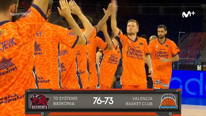 El resumen del TD Systems Baskonia - Valencia Basket (76-73)