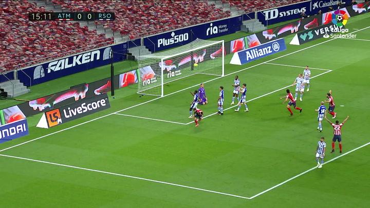 Gol de Carrasco (1-0) en el Atlético 2-1 Real Sociedad