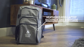 Heathered Rfid Backpack And Brief Case