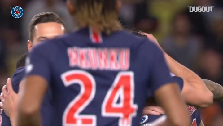 Edinson Cavani's hat-trick Vs Monaco