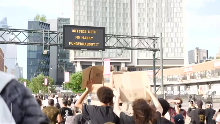 Over 1,000 Protesters March Underneath Digital Sign 'Outside with No Mask? Fuhgeddaboutit'