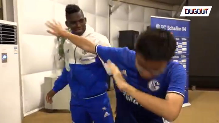 Embolo teaches Chinese fan goal celebrations