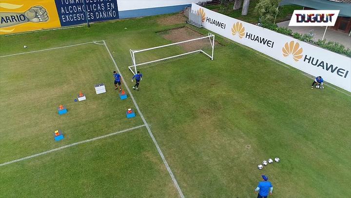 Intense goalkeeper training