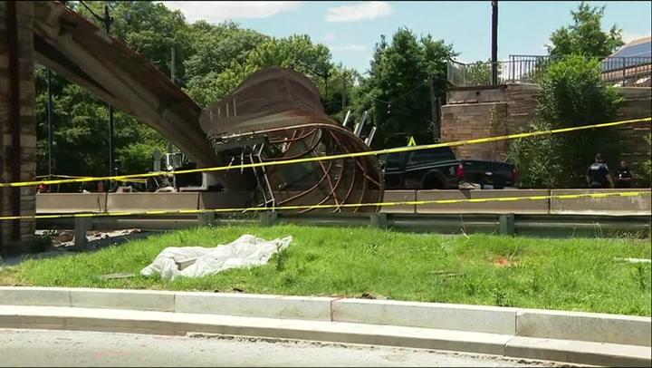 Five injured after pedestrian bridge collapses in Washington DC