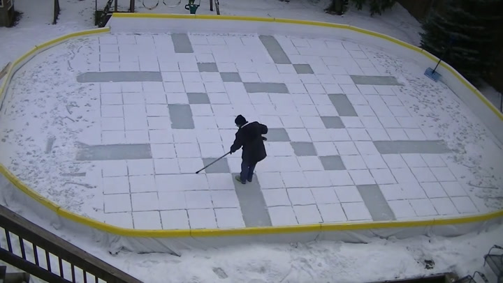 Toronto man turns his backyard into a canvas for massive snow art